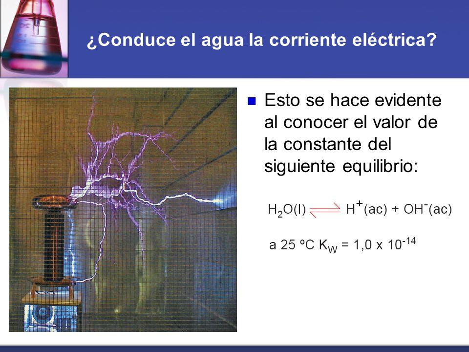 ¿Conduce el agua la corriente eléctrica? Esto se hace evidente al conocer el valor de la constante del siguiente equilibrio: