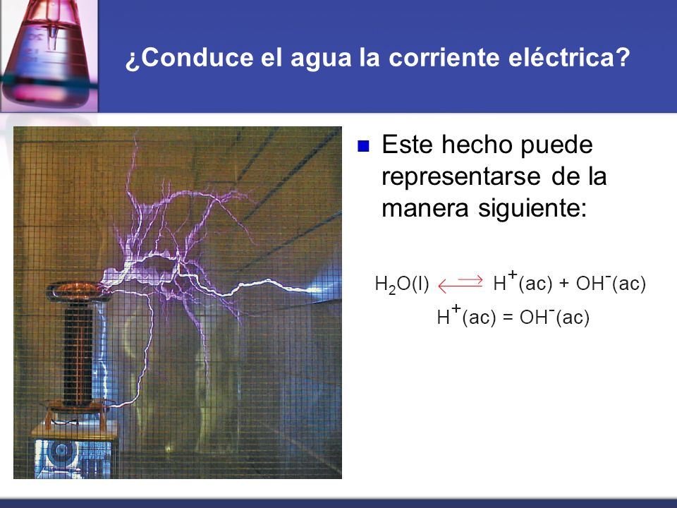 ¿Conduce el agua la corriente eléctrica? Este hecho puede representarse de la manera siguiente: