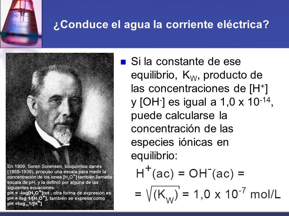 ¿Conduce el agua la corriente eléctrica? Si la constante de ese equilibrio, K W, producto de las concentraciones de [H + ] y [OH - ] es igual a 1,0 x