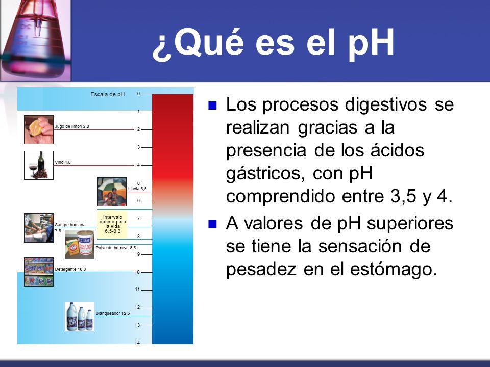 ¿Qué es el pH Los procesos digestivos se realizan gracias a la presencia de los ácidos gástricos, con pH comprendido entre 3,5 y 4. A valores de pH su
