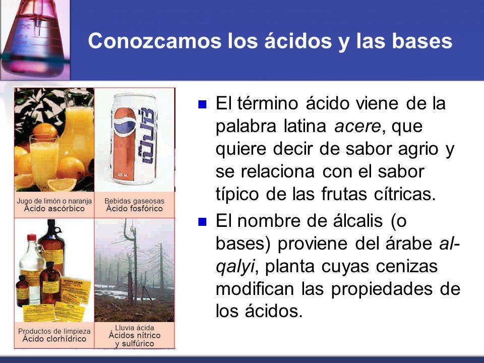 Conozcamos los ácidos y las bases El término ácido viene de la palabra latina acere, que quiere decir de sabor agrio y se relaciona con el sabor típic
