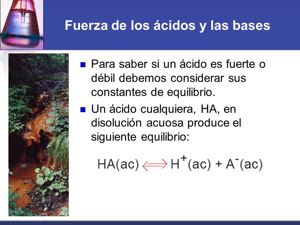 Fuerza de los ácidos y las bases Para saber si un ácido es fuerte o débil debemos considerar sus constantes de equilibrio. Un ácido cualquiera, HA, en