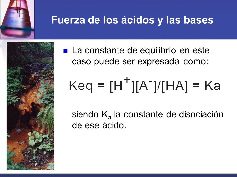 Fuerza de los ácidos y las bases La constante de equilibrio en este caso puede ser expresada como: siendo K a la constante de disociación de ese ácido