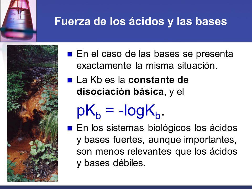 Fuerza de los ácidos y las bases En el caso de las bases se presenta exactamente la misma situación. La Kb es la constante de disociación básica, y el