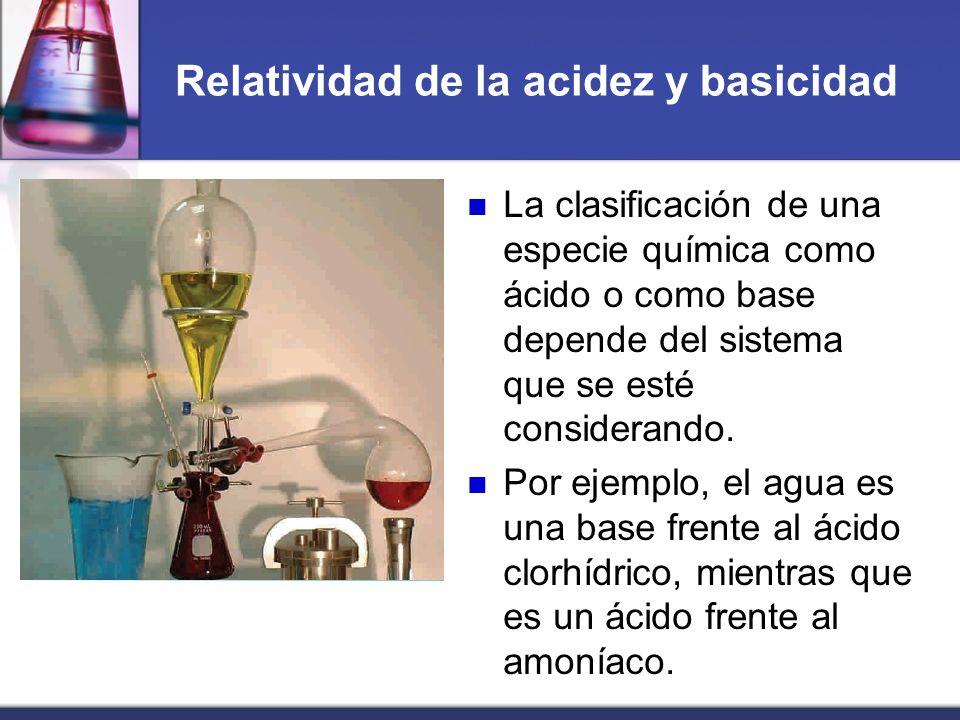 Relatividad de la acidez y basicidad La clasificación de una especie química como ácido o como base depende del sistema que se esté considerando. Por
