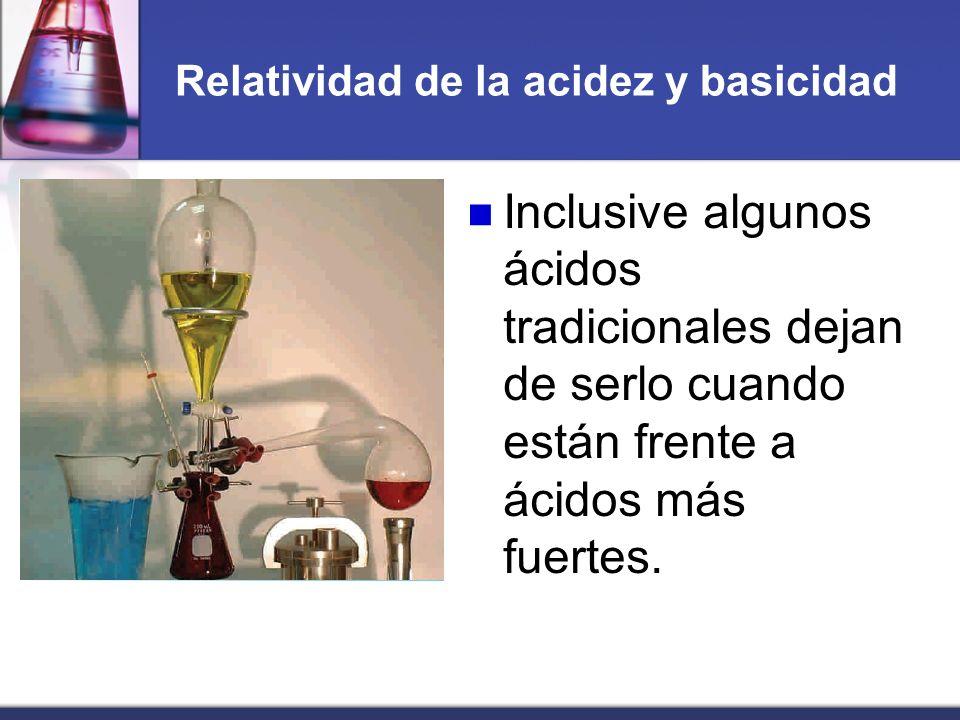 Relatividad de la acidez y basicidad Inclusive algunos ácidos tradicionales dejan de serlo cuando están frente a ácidos más fuertes.