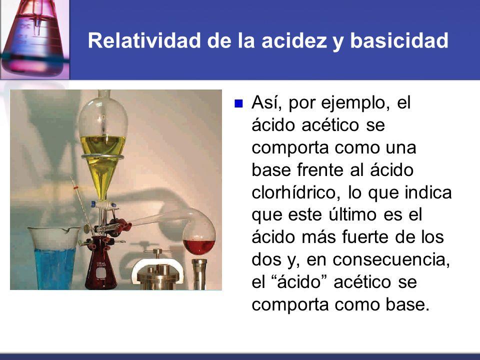Relatividad de la acidez y basicidad Así, por ejemplo, el ácido acético se comporta como una base frente al ácido clorhídrico, lo que indica que este