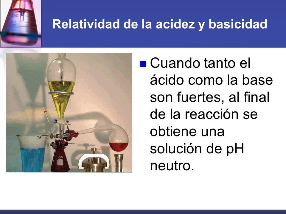 Relatividad de la acidez y basicidad Cuando tanto el ácido como la base son fuertes, al final de la reacción se obtiene una solución de pH neutro.