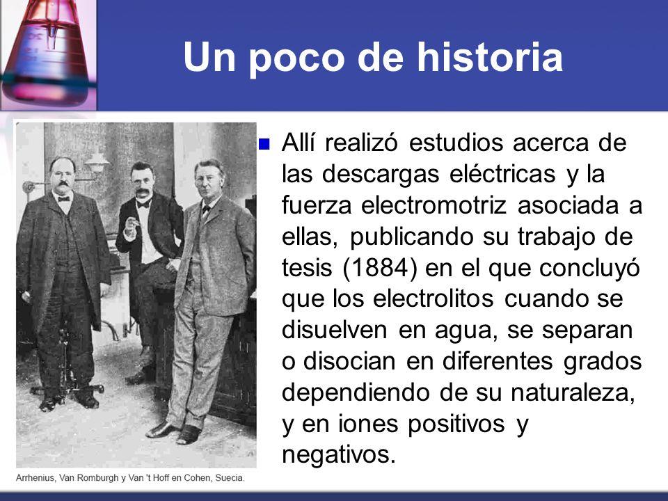 Un poco de historia Allí realizó estudios acerca de las descargas eléctricas y la fuerza electromotriz asociada a ellas, publicando su trabajo de tesi