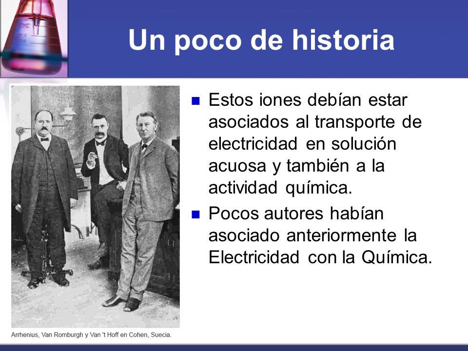 Un poco de historia Estos iones debían estar asociados al transporte de electricidad en solución acuosa y también a la actividad química. Pocos autore