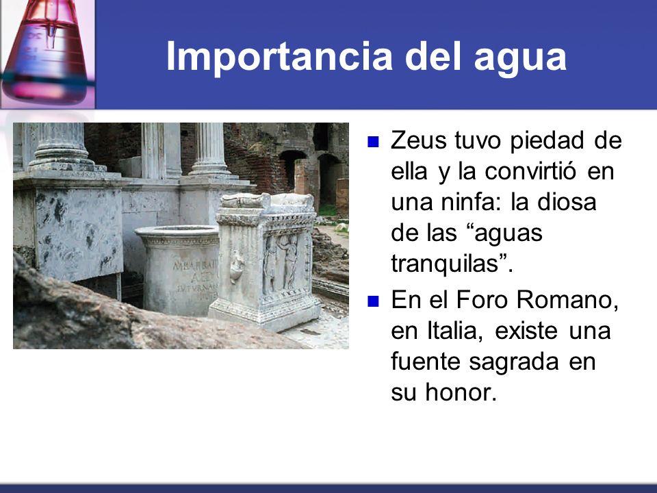Importancia del agua Zeus tuvo piedad de ella y la convirtió en una ninfa: la diosa de las aguas tranquilas. En el Foro Romano, en Italia, existe una