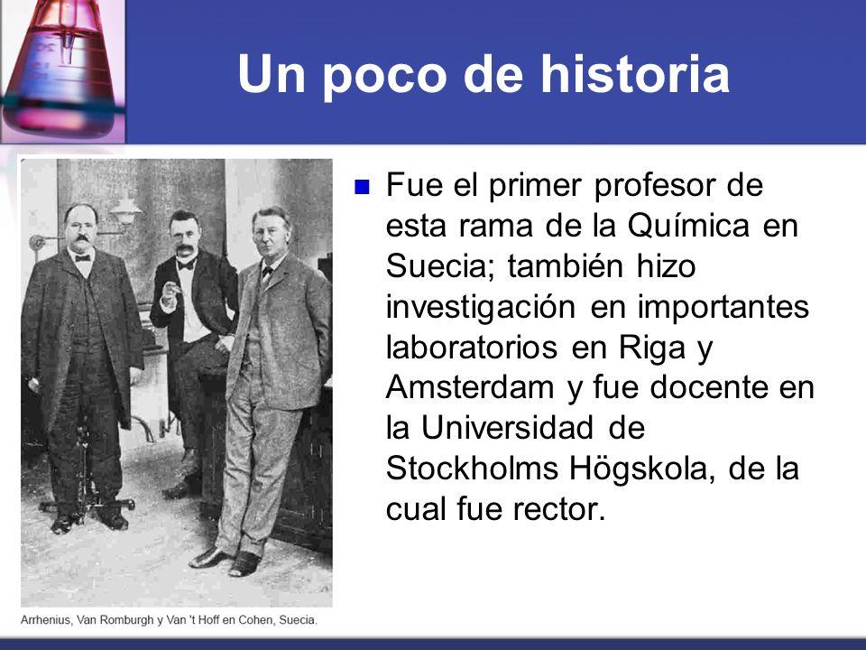 Un poco de historia Fue el primer profesor de esta rama de la Química en Suecia; también hizo investigación en importantes laboratorios en Riga y Amst