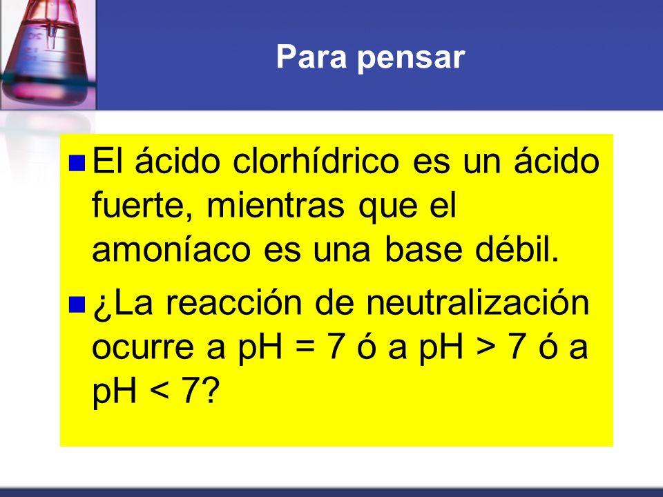 Para pensar El ácido clorhídrico es un ácido fuerte, mientras que el amoníaco es una base débil. ¿La reacción de neutralización ocurre a pH = 7 ó a pH