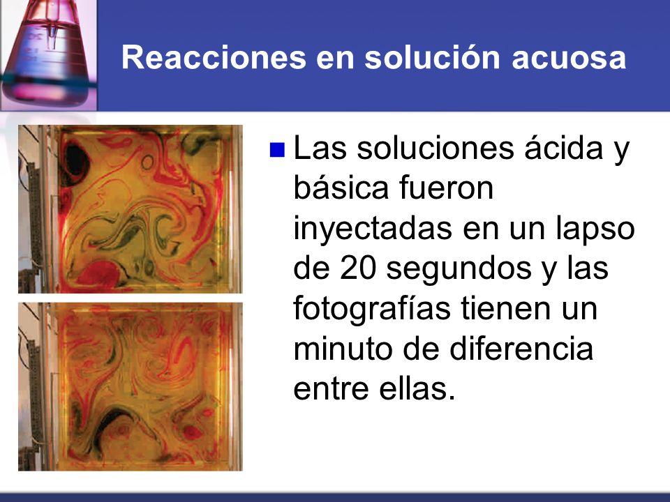 Reacciones en solución acuosa Las soluciones ácida y básica fueron inyectadas en un lapso de 20 segundos y las fotografías tienen un minuto de diferen