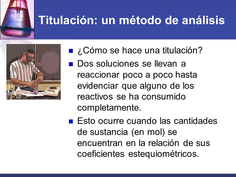 Titulación: un método de análisis ¿Cómo se hace una titulación? Dos soluciones se llevan a reaccionar poco a poco hasta evidenciar que alguno de los r