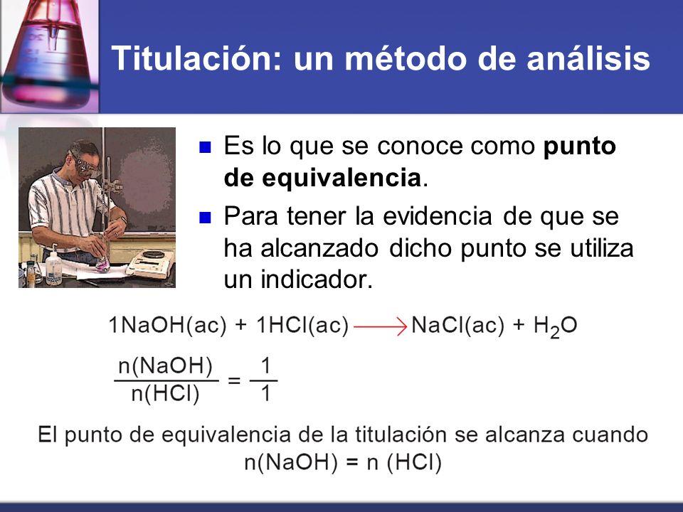 Titulación: un método de análisis Es lo que se conoce como punto de equivalencia. Para tener la evidencia de que se ha alcanzado dicho punto se utiliz