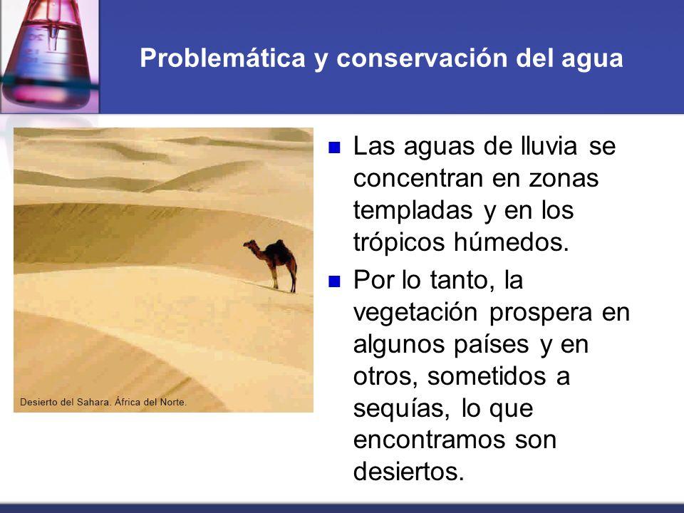 Problemática y conservación del agua Las aguas de lluvia se concentran en zonas templadas y en los trópicos húmedos. Por lo tanto, la vegetación prosp