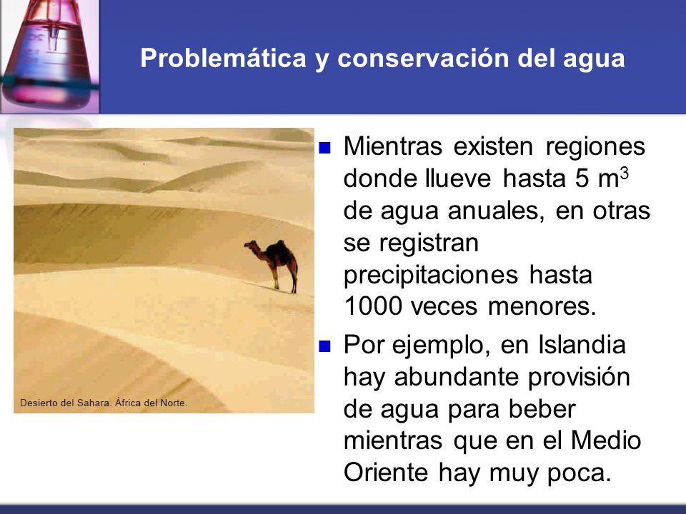 Problemática y conservación del agua Mientras existen regiones donde llueve hasta 5 m 3 de agua anuales, en otras se registran precipitaciones hasta 1