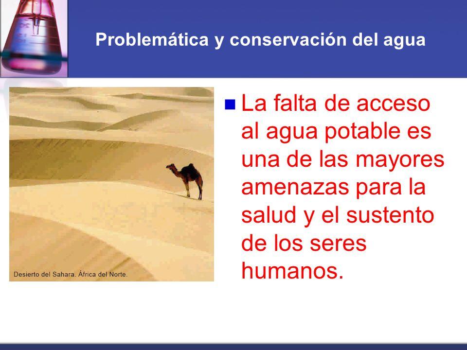 Problemática y conservación del agua La falta de acceso al agua potable es una de las mayores amenazas para la salud y el sustento de los seres humano
