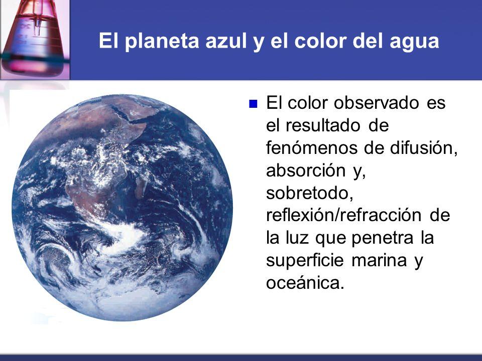 El planeta azul y el color del agua El color observado es el resultado de fenómenos de difusión, absorción y, sobretodo, reflexión/refracción de la lu