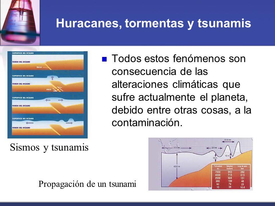 Huracanes, tormentas y tsunamis Todos estos fenómenos son consecuencia de las alteraciones climáticas que sufre actualmente el planeta, debido entre o