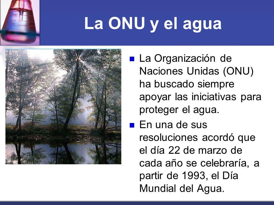 La ONU y el agua La Organización de Naciones Unidas (ONU) ha buscado siempre apoyar las iniciativas para proteger el agua. En una de sus resoluciones