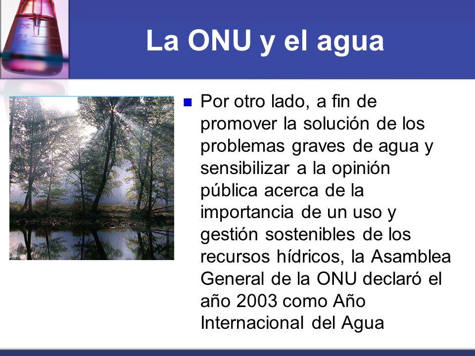 La ONU y el agua Por otro lado, a fin de promover la solución de los problemas graves de agua y sensibilizar a la opinión pública acerca de la importa