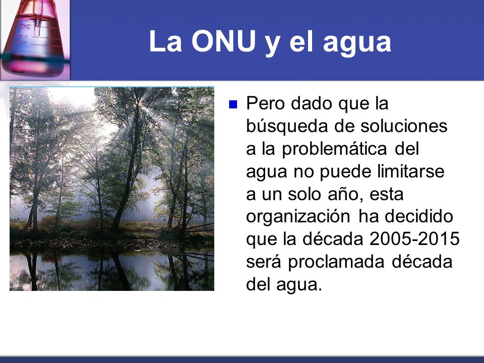 La ONU y el agua Pero dado que la búsqueda de soluciones a la problemática del agua no puede limitarse a un solo año, esta organización ha decidido qu