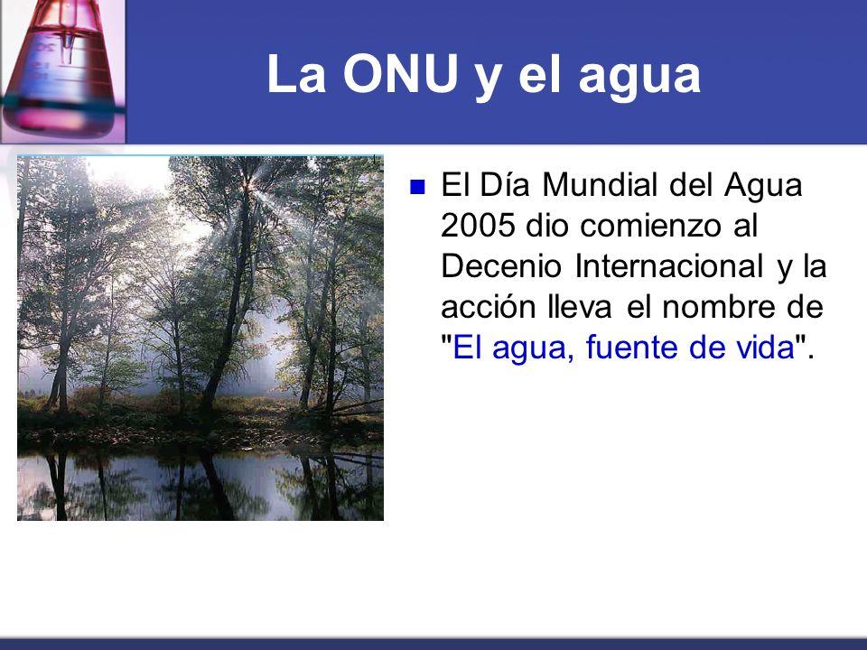 La ONU y el agua El Día Mundial del Agua 2005 dio comienzo al Decenio Internacional y la acción lleva el nombre de