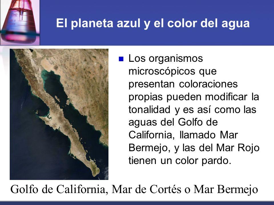 El planeta azul y el color del agua Los organismos microscópicos que presentan coloraciones propias pueden modificar la tonalidad y es así como las ag