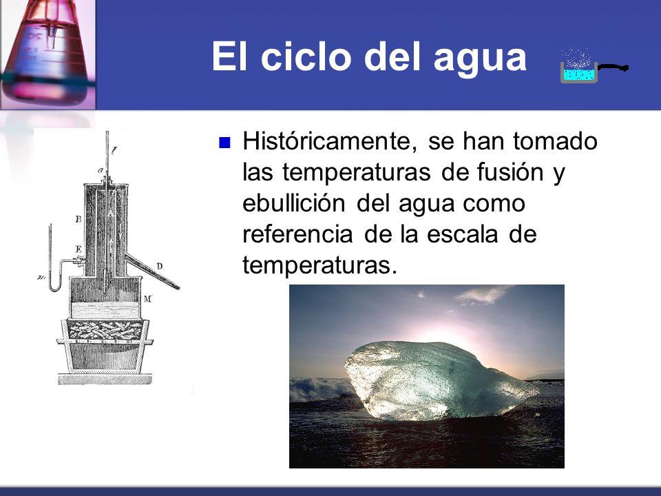 El ciclo del agua Históricamente, se han tomado las temperaturas de fusión y ebullición del agua como referencia de la escala de temperaturas.