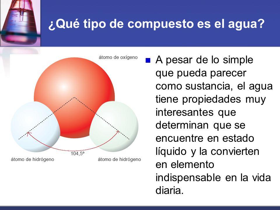 ¿Qué tipo de compuesto es el agua? A pesar de lo simple que pueda parecer como sustancia, el agua tiene propiedades muy interesantes que determinan qu