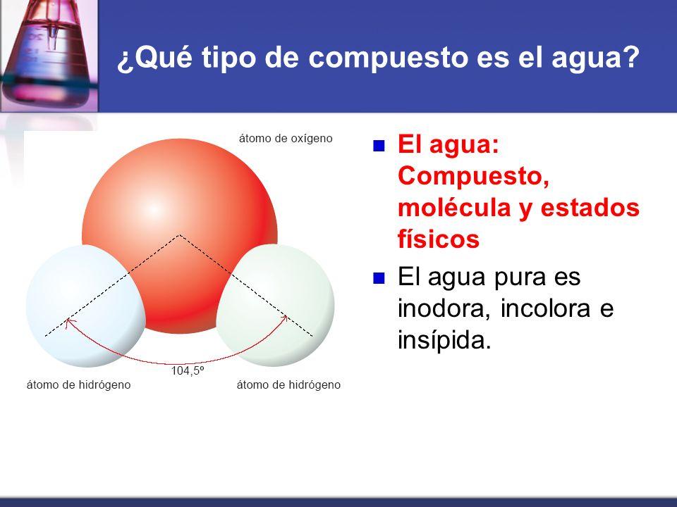 ¿Qué tipo de compuesto es el agua? El agua: Compuesto, molécula y estados físicos El agua pura es inodora, incolora e insípida.