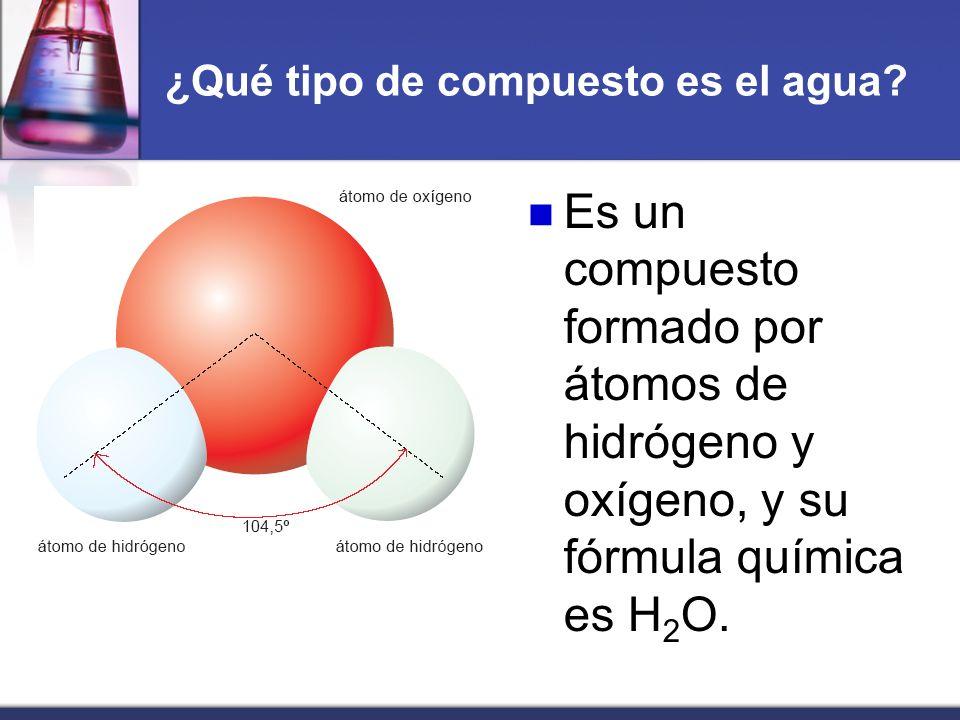 ¿Qué tipo de compuesto es el agua? Es un compuesto formado por átomos de hidrógeno y oxígeno, y su fórmula química es H 2 O.