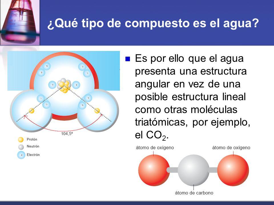 ¿Qué tipo de compuesto es el agua? Es por ello que el agua presenta una estructura angular en vez de una posible estructura lineal como otras molécula