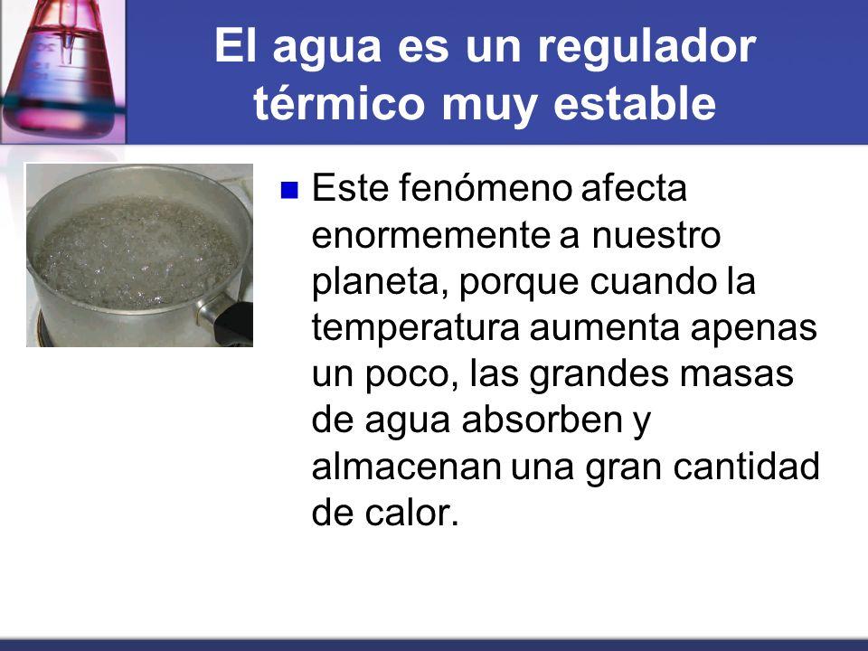 El agua es un regulador térmico muy estable Este fenómeno afecta enormemente a nuestro planeta, porque cuando la temperatura aumenta apenas un poco, l