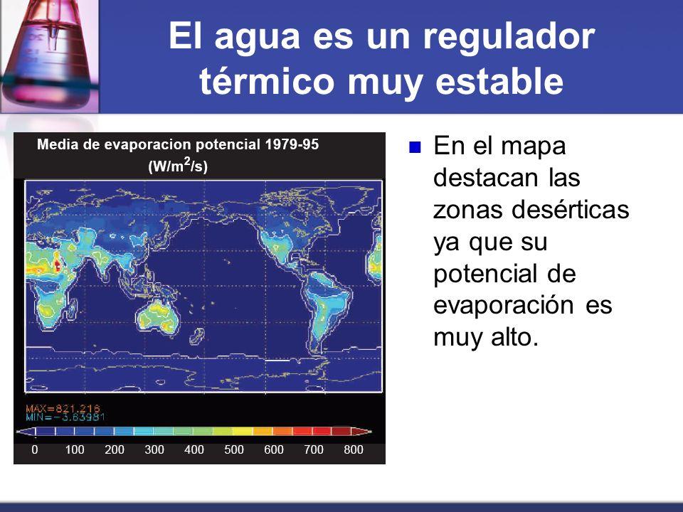 El agua es un regulador térmico muy estable En el mapa destacan las zonas desérticas ya que su potencial de evaporación es muy alto.