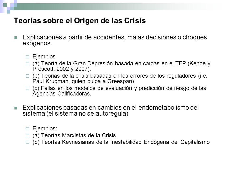 Teorías sobre el Origen de las Crisis Explicaciones a partir de accidentes, malas decisiones o choques exógenos.