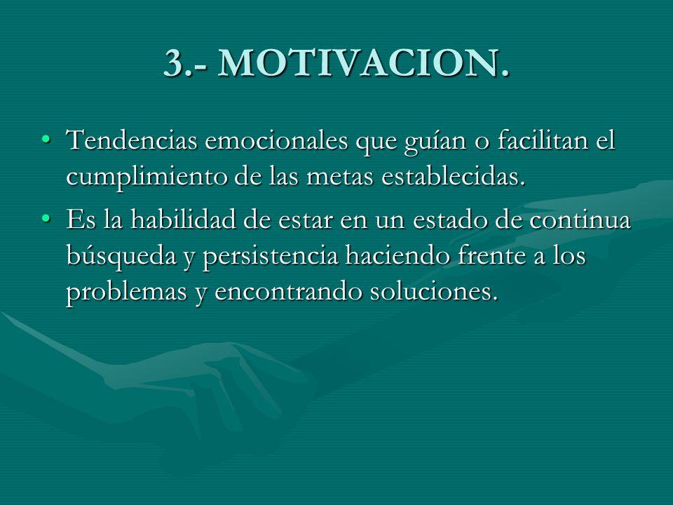 3.- MOTIVACION. Tendencias emocionales que guían o facilitan el cumplimiento de las metas establecidas.Tendencias emocionales que guían o facilitan el
