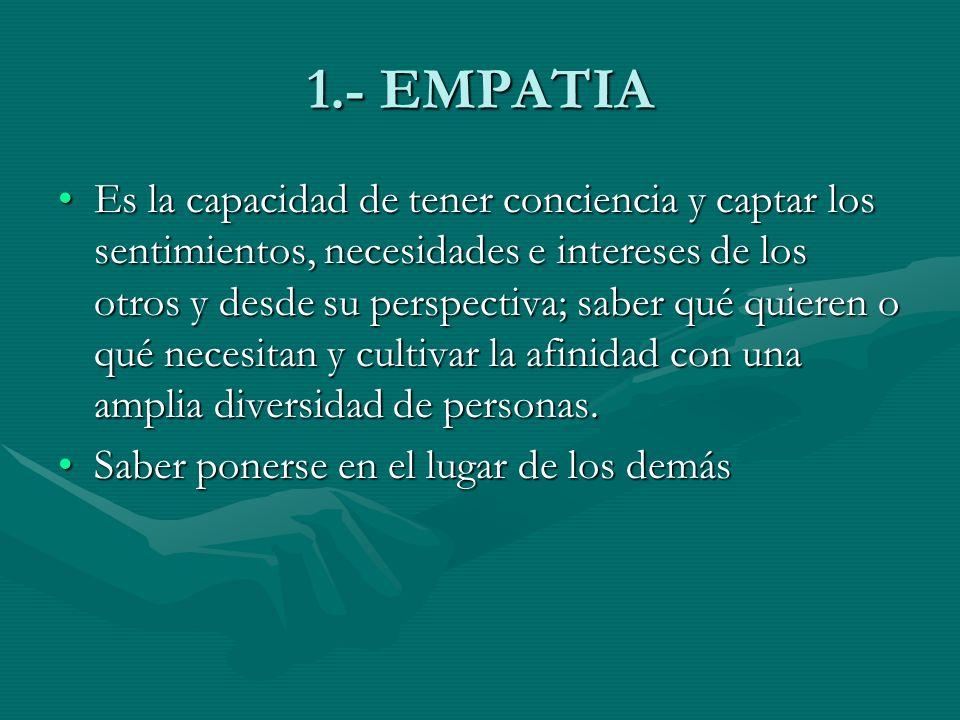 1.- EMPATIA Es la capacidad de tener conciencia y captar los sentimientos, necesidades e intereses de los otros y desde su perspectiva; saber qué quie