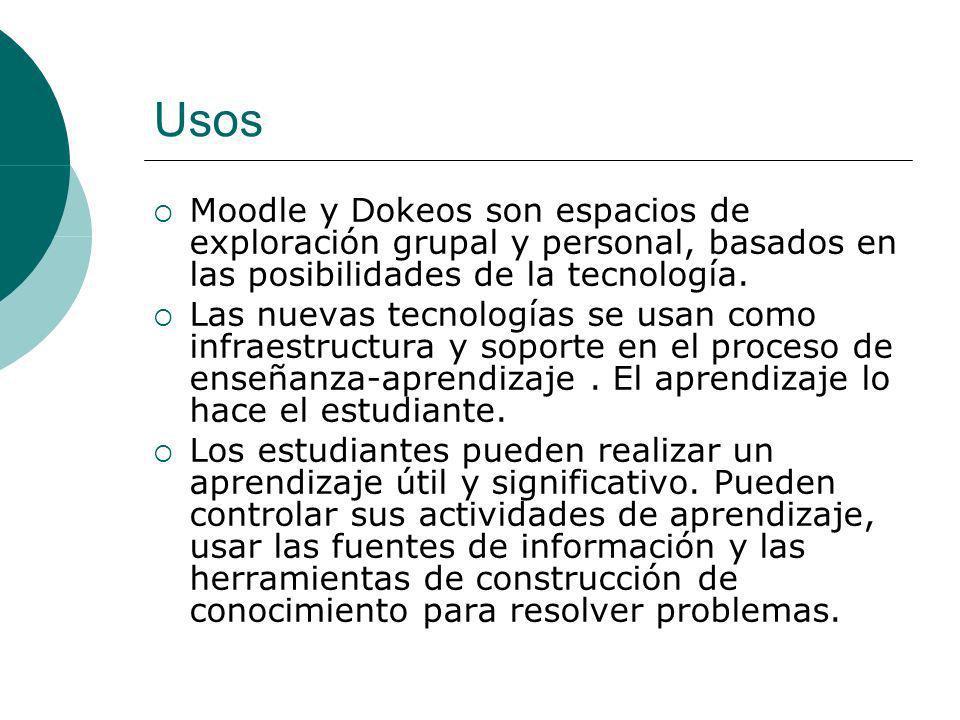 Usos Tienen dos utilidades: Crear cursos: Permiten diseñar cursos mediante el uso de páginas web conectadas por hipervínculos.
