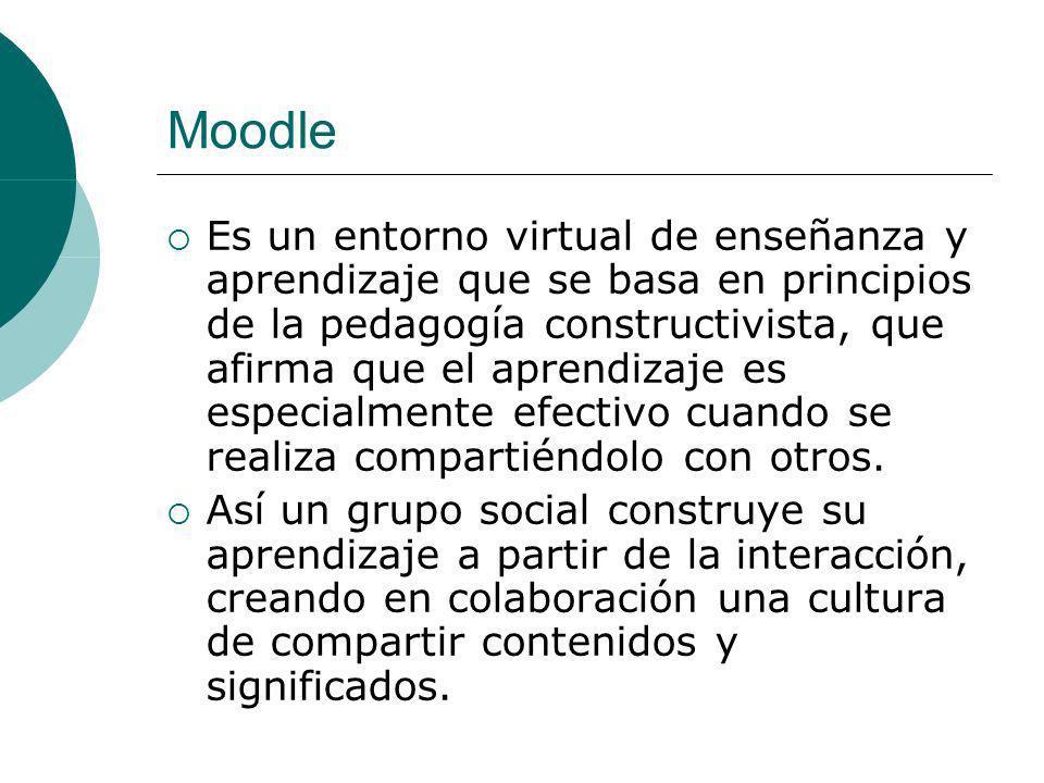 Moodle Es un entorno virtual de enseñanza y aprendizaje que se basa en principios de la pedagogía constructivista, que afirma que el aprendizaje es especialmente efectivo cuando se realiza compartiéndolo con otros.