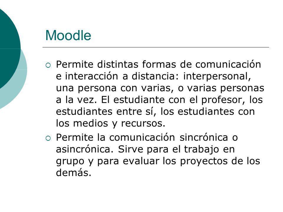 Moodle Se organiza según: Recursos de información: orientan el trabajo de los estudiantes y le ofrecen material bibliográfico.