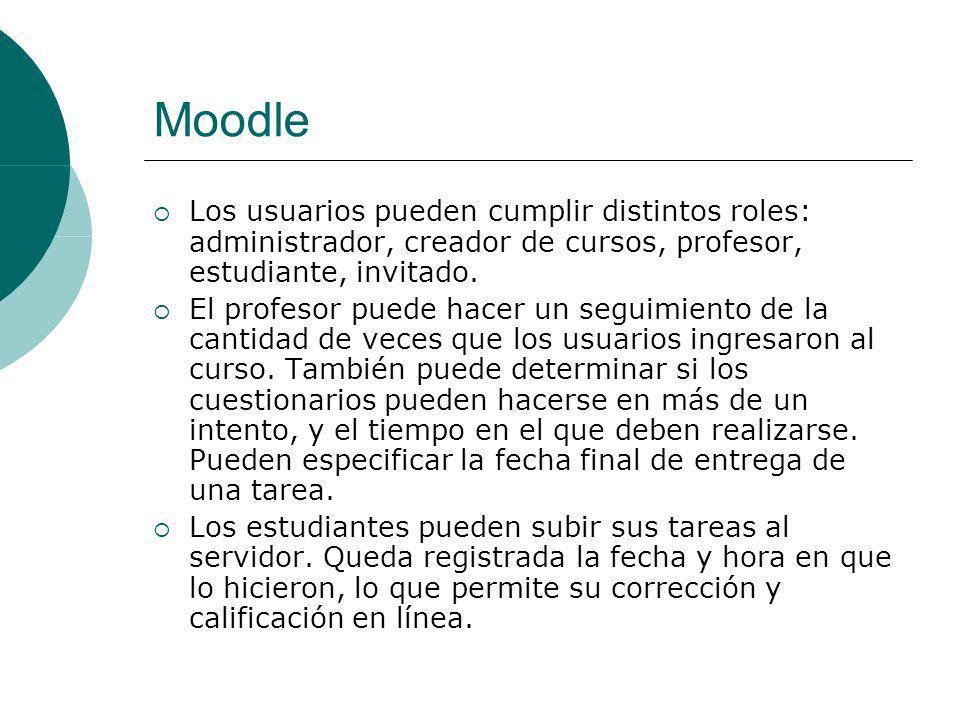 Moodle Los usuarios pueden cumplir distintos roles: administrador, creador de cursos, profesor, estudiante, invitado.