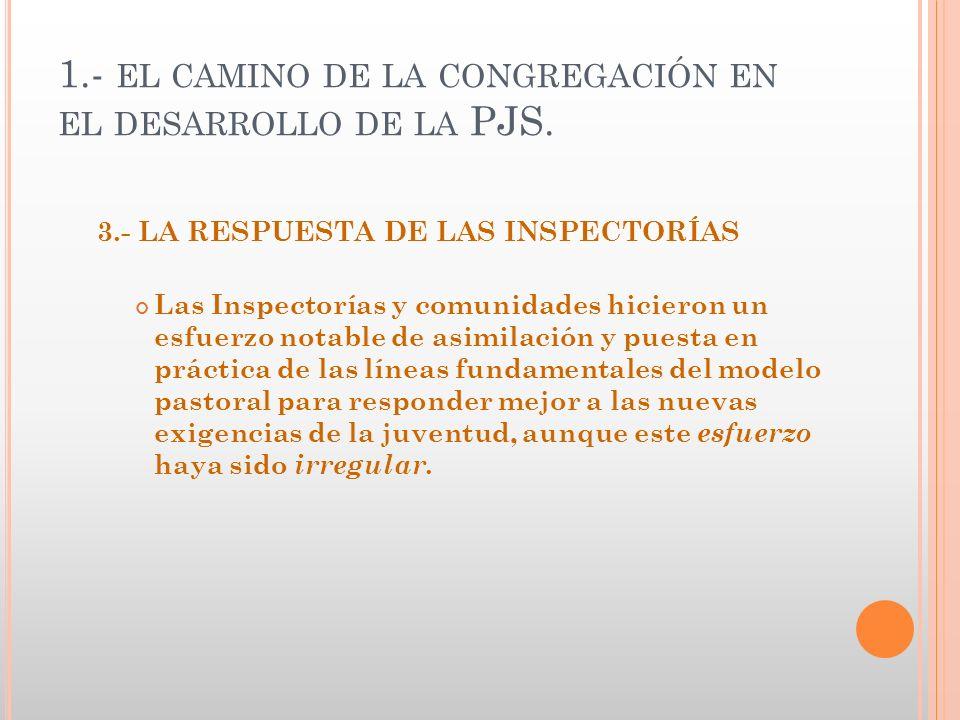 1.- EL CAMINO DE LA CONGREGACIÓN EN EL DESARROLLO DE LA PJS. 3.- LA RESPUESTA DE LAS INSPECTORÍAS Las Inspectorías y comunidades hicieron un esfuerzo