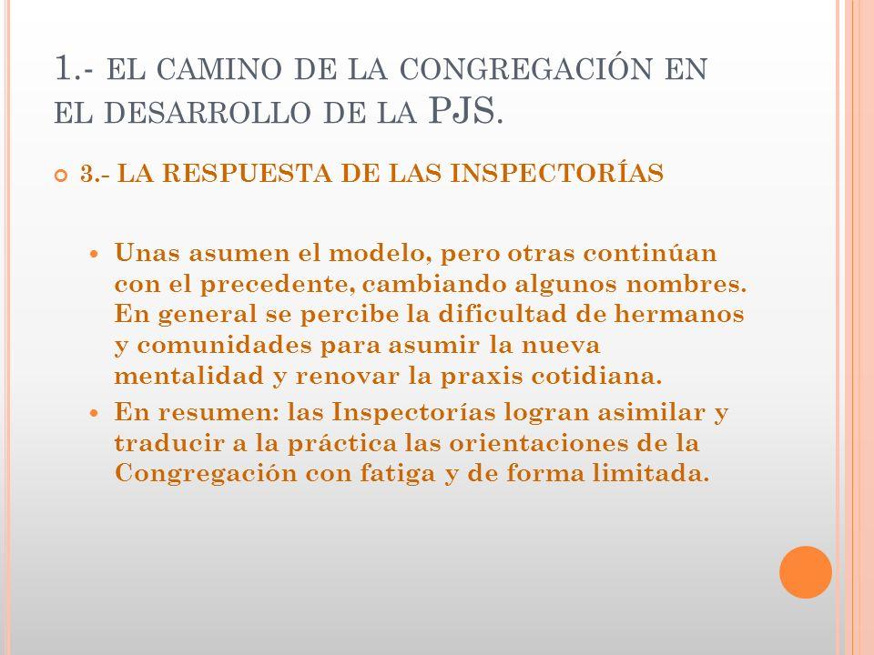 1.- EL CAMINO DE LA CONGREGACIÓN EN EL DESARROLLO DE LA PJS. 3.- LA RESPUESTA DE LAS INSPECTORÍAS Unas asumen el modelo, pero otras continúan con el p