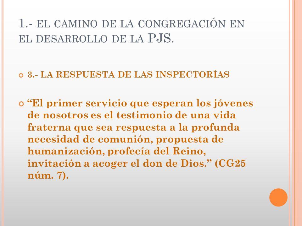 1.- EL CAMINO DE LA CONGREGACIÓN EN EL DESARROLLO DE LA PJS. 3.- LA RESPUESTA DE LAS INSPECTORÍAS El primer servicio que esperan los jóvenes de nosotr