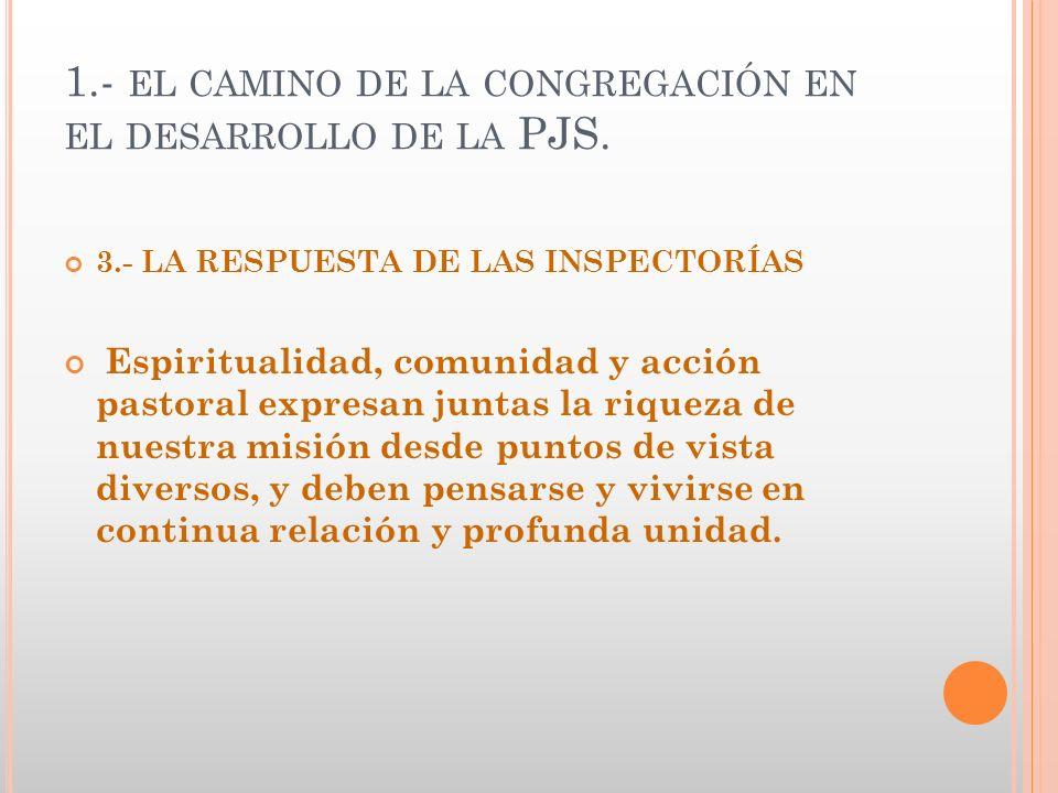 1.- EL CAMINO DE LA CONGREGACIÓN EN EL DESARROLLO DE LA PJS. 3.- LA RESPUESTA DE LAS INSPECTORÍAS Espiritualidad, comunidad y acción pastoral expresan