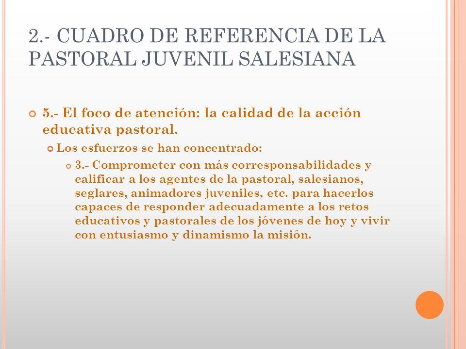 2.- CUADRO DE REFERENCIA DE LA PASTORAL JUVENIL SALESIANA 5.- El foco de atención: la calidad de la acción educativa pastoral. Los esfuerzos se han co