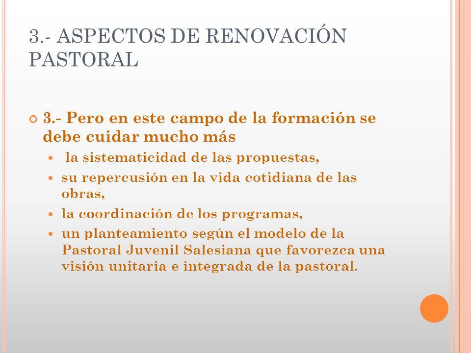 3.- ASPECTOS DE RENOVACIÓN PASTORAL 3.- Pero en este campo de la formación se debe cuidar mucho más la sistematicidad de las propuestas, su repercusió